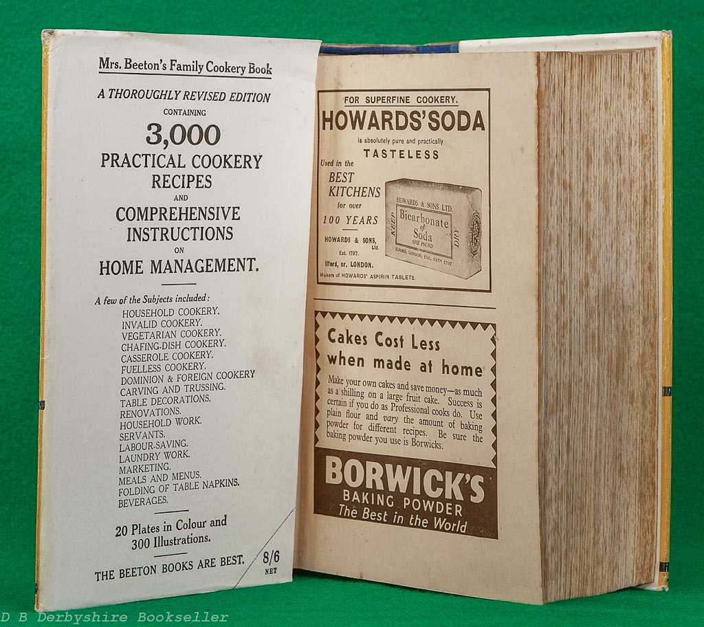 Mrs Beeton's Family Cookery   Ward, Lock & Co. Ltd, revised edition [No Date] circa 1936/37   with dustwrapper