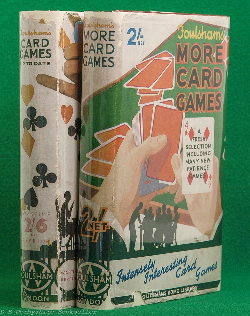 Foulsham's Card Games and More Card Games | 1940s | dustwrapper art by Philip Simmonds and Gil Dyer