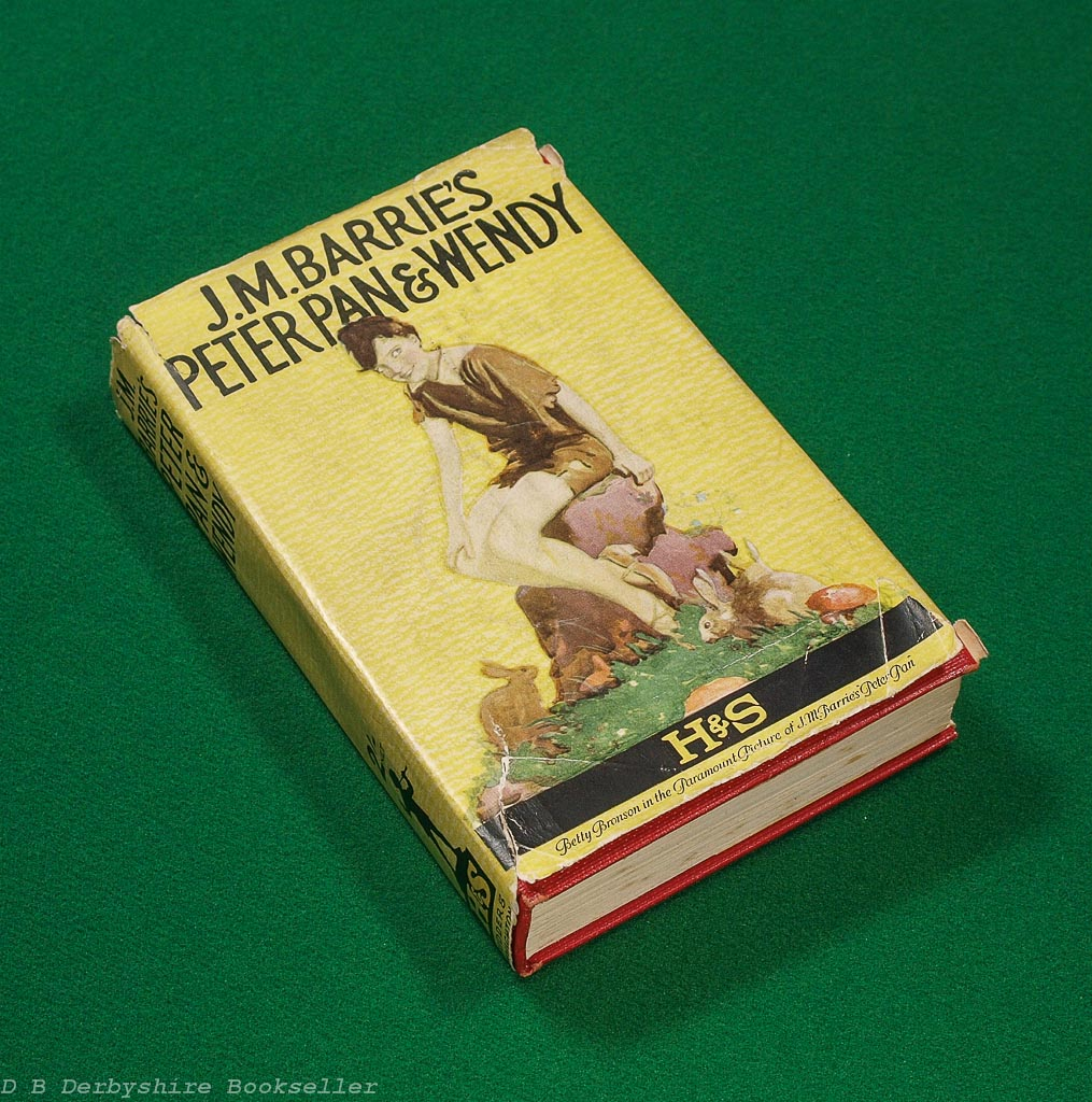 Peter Pan and Wendy | J. M. Barrie | Hodder and Stoughton, circa 1925 | Paramount Picture film tie-in dustwrapper