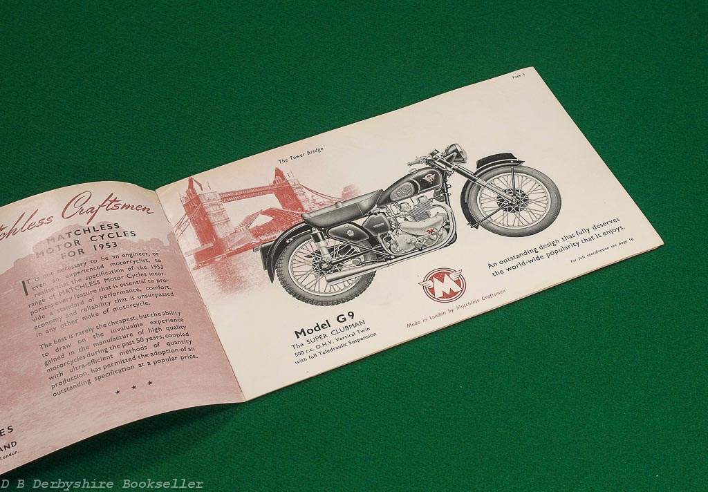 Matchless - Made in London by Matchless Craftsmen | 1953 | Motorcycle Sales Brochure