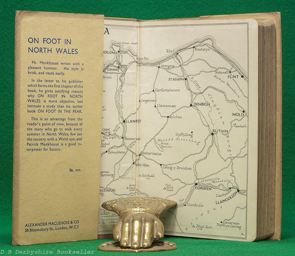 On Foot in North Wales | Patrick Monkhouse | Maclehose, 1934 | dustwrapper by S. Bone