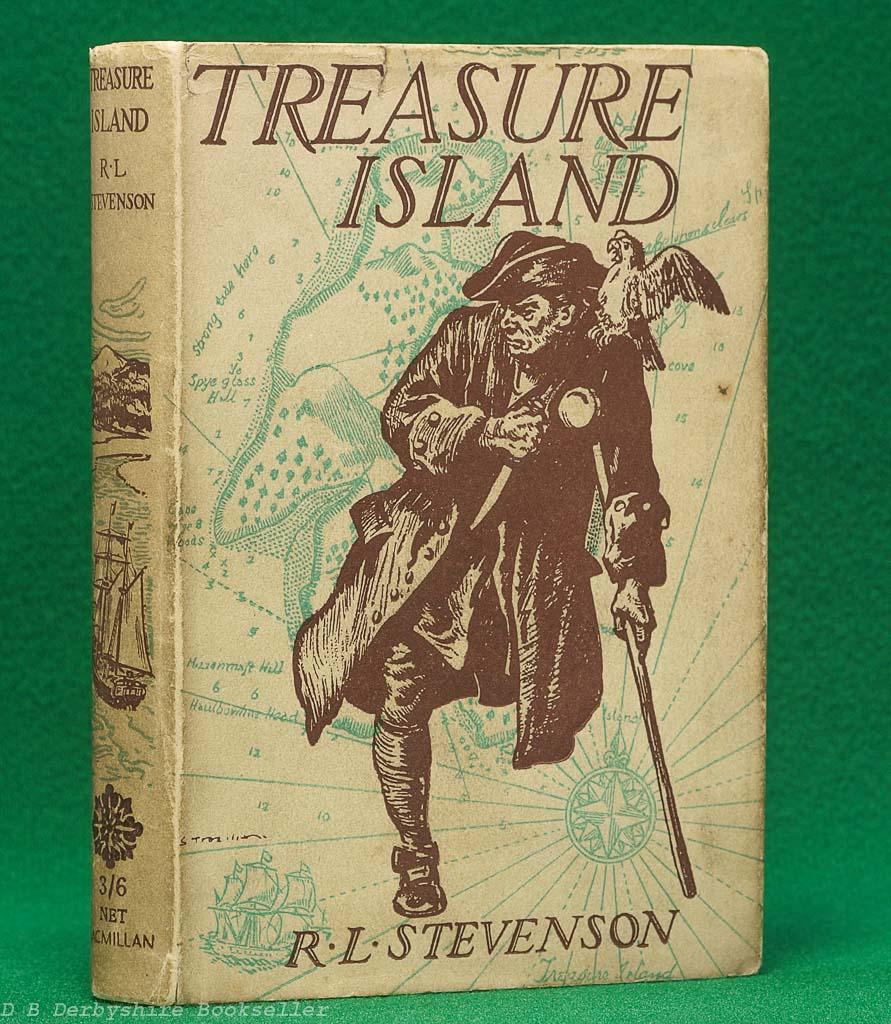 Treasure Island by Robert Louis Stevenson (Macmillan, 1942) | illustrated by H. M. Brock | dustwrapper by Stuart Tresilian