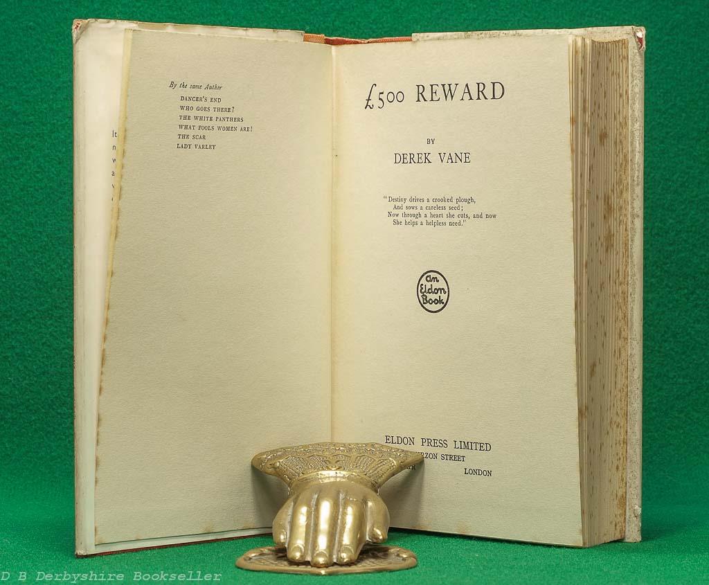 £500 Reward | Derek Vane | Eldon Press, reprint 1935 | dustwrapper by Chesney
