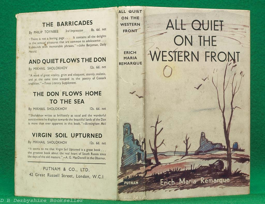 All Quiet on the Western Front | Erich Maria Remarque | Putnam, circa 1948 | with dustwrapper