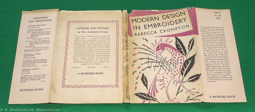 Modern Design in Embroidery | Rebecca Crompton | Batsford, re-issue 1950 | with dustwrapper