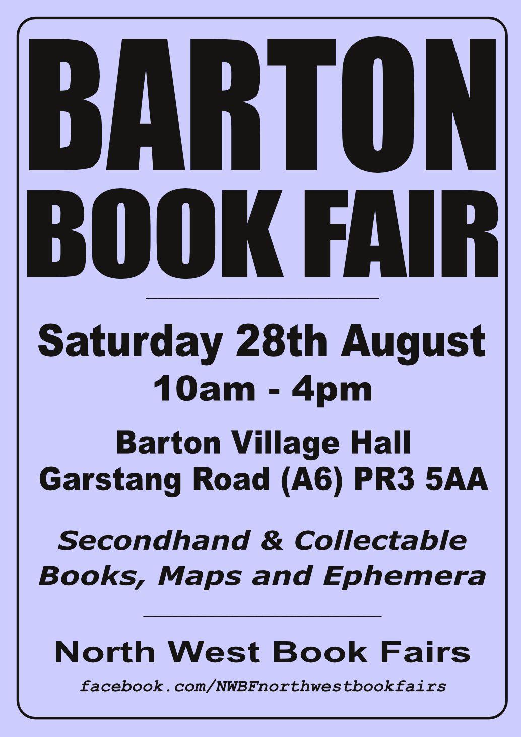 Barton Book Fair | 28 August 2021 | Poster