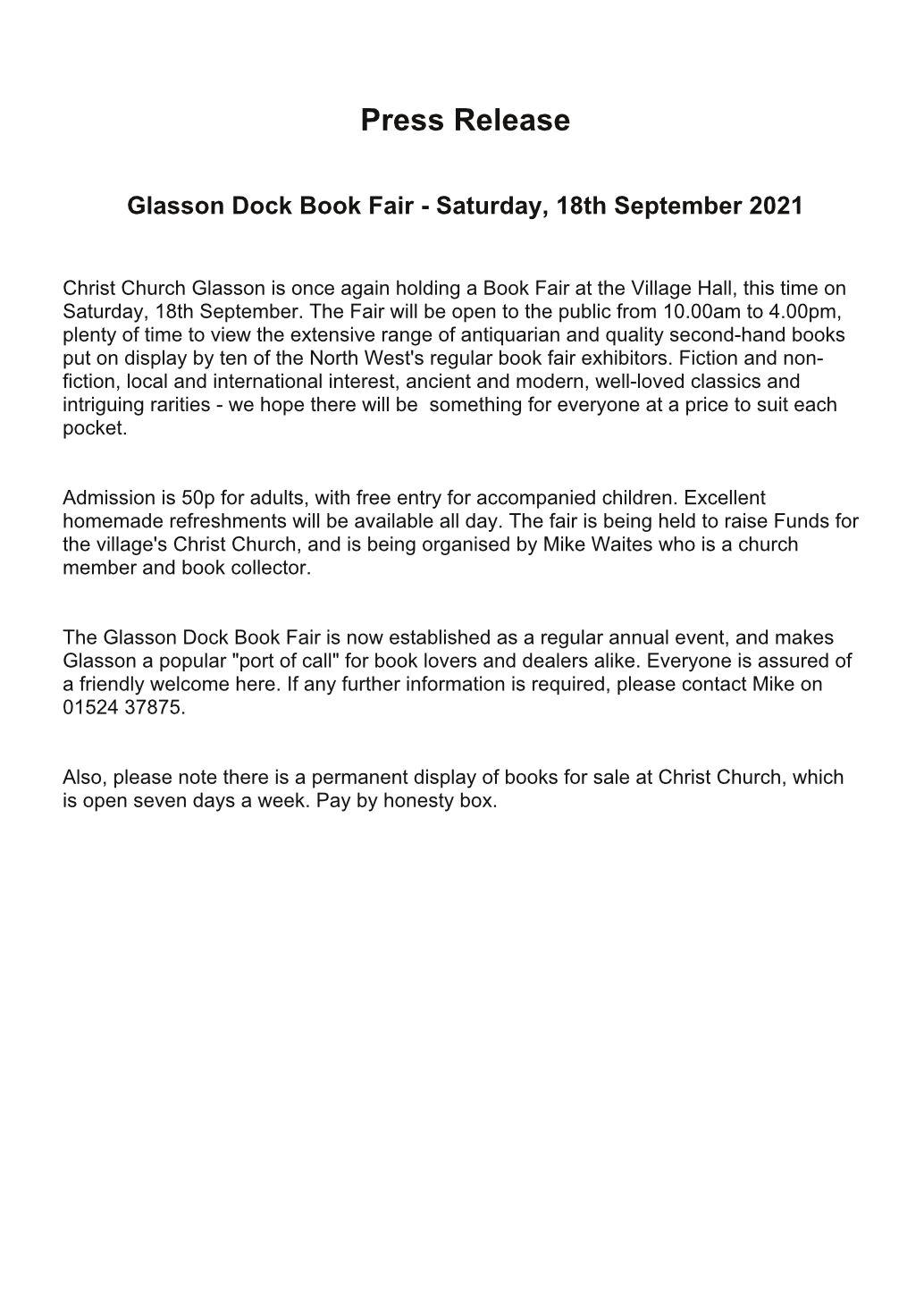 Glasson Dock Book Fair | 18 September 2021 | Poster