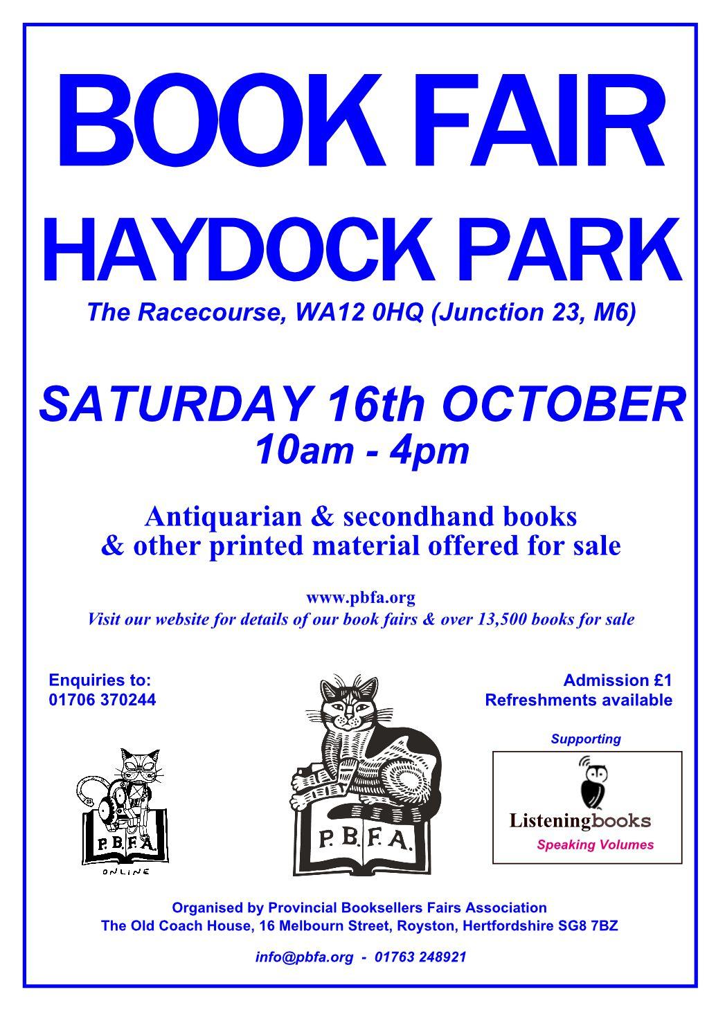 Haydock Book Fair | 16 October 2021 | Poster