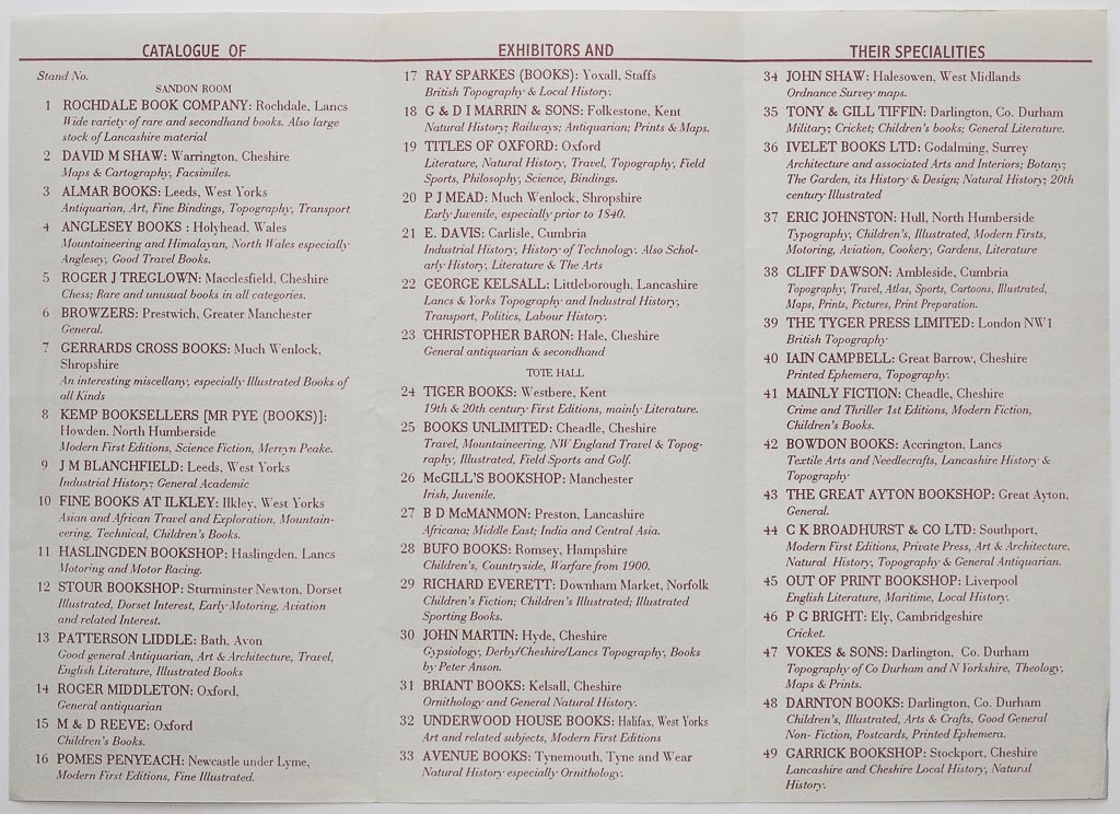 Haydock Book Fair | Exhibitor List 1994