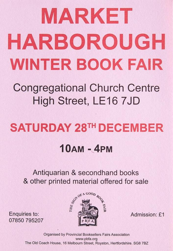 Market Harborough Book Fair | 28 December 2019 | Poster