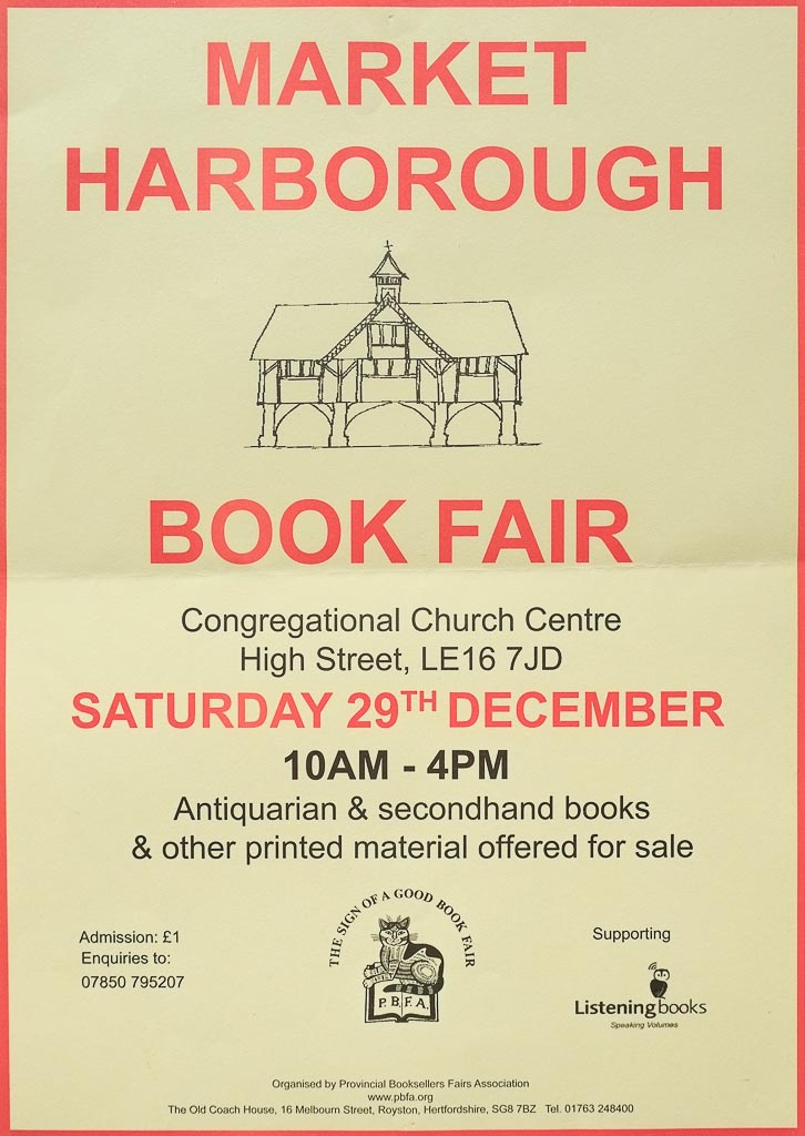 Market Harborough Book Fair | 29 December 2018 | Poster
